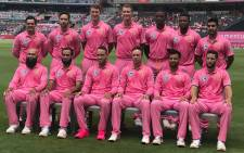 The Proteas beat Sri Lanka in the third one-day international in their pink jerseys to raise awareness against cancer. Picture: @OfficialCSA.
