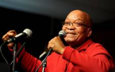 President Zuma singing at 11th National Congress of COSATU, held at Gallagher Estate. Picture: GCIS.