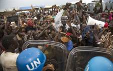 FILE: Internally displaced people demonstrate during a visit by the US ambassador to the United Nations to Juba in the Democratic Republic of Congo on 25 October 2017. Picture: AFP.
