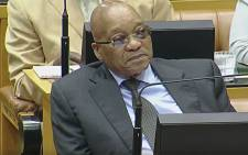 A screen grab of President Jacob Zuma watching on during the 2016 State of the Nation debate on 16 February 2016. Picture: YouTube