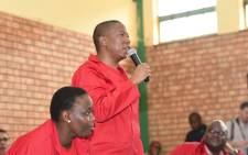 Economic Freedom Fighters leader Julius Malema addressing participants at the Thulamela Indoor Sports Hall, in Vhembe District Municipality, Limpopo during public hearings into expropriation of land without compensation. Picture: @EFFSouthAfrica/Twitter