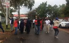 Bus drivers picketing at the bus depot in Salvokop, Pretoria. Mia Lindeque/EWN.