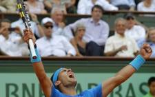 "Spanish tennis player Rafael ""Rafa"" Nadal Parera revels in his win."