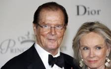 FILE: British actor Roger Moore and his wife Cristina Tholstrup. Picture: AFP.