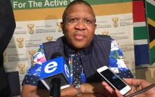 Sports and recreation minister Fikile Mbalula speaks to the media at Sascoc House. Picture: Vumani Mkhize/EWN.