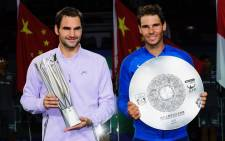 Winner Roger Federer of Switzerland and Rafael Nadal of Spain after the match. Picture: @SH_RolexMasters/Twitter.