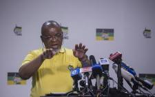 Gwede Mantashe Secretary General of the African National Congress addresses the media during a press briefing at Luthuli House in Johannesburg. Picture: Ihsaan Haffejee/EWN