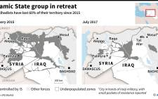Comparison of zones controlled by Islamic State group from January 2015 to July 2017.