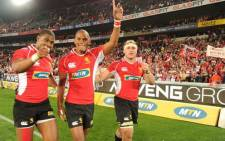 Golden Lions players celebrate with fans after their thundering win against Southern Kings at Ellis Park, which secured them a spot in the Super Rugby next season. Picture: Lions official Facebook page.
