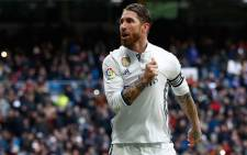 Real Madrid's Sergio Ramos celebrates after scoring a goal against Malaga. Picture: Twitter/@realmadrid.