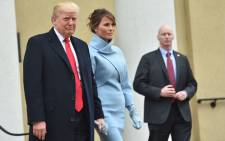 US President-elect Donald Trump and his wife Melania at St. John's Episcopal Church on January 20, 2017, before Trump's inauguration. Picture: AFP