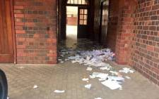 Pupils and teachers were locked inside classrooms after more than 200 people claiming to be members of Cosas stormed the school. Picture: Emily Corke/EWN.