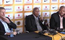 Kaizer Chiefs Chairman Kaizer Motaung, former coach Stuart Baxter and team manger Bobby Motaung at a press conference in Naturena, Tueday 2 June 2015. Picture: Vumani Mkhize.