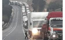 A protest by truck drivers results in major delays and heavy traffic on the N3 between Harrismith and the Tugela Toll Plaza. Picture: @N3Route/Twitter.