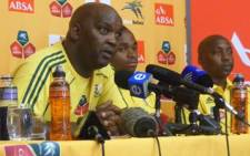 Bafana Bafana coach Pitso Mosimane (left) at a press conference on 15 November 2010 ahead of facing the USA. Picture: Wesley Petersen/EWN