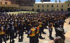 Police officers gather at the Castle of Good Hope ahead of President Jacob Zuma's State of the Nation Address. Picture: Monique Mortlock/EWN.