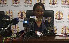 FILE: Advocate Busisiwe Mkhwebane briefs the media on her first 100 days as Public Protector. Picture: Kgothatso Mogale/EWN