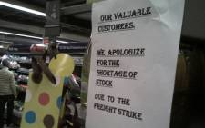 Many shop shelves, like this one at the Braamfontein Pick n Pay, are empty because of the truck drivers strike. Picture: Akinoluwa Oyedele via Twitter.