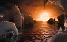 This illustration shows the possible surface of TRAPPIST-1f, one of the newly discovered planets in the TRAPPIST-1 system. Picture: Nasa.gov.