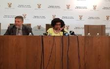 Water and Sanitation Minister Nomvula Mokonyane (R). Picture: @DWS_RSA/Twitter.