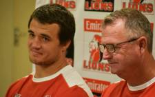 Lions' Franco Mostert and coach Swys de Bruyn. Picture: Twitter/@LionsRugbyCo.
