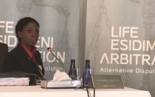 Nompilo Nkosi whose brother survived the deadly Esidimeni project testifying at the Esidimeni arbitration hearing on 1 December 2017. Picture: Masego Rahlaga/EWN.