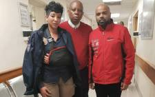 JMPD officer Nompumelelo Salley who was assaulted by a taxi driver is pictured with Johannesburg Mayor Herman Mashaba and her husband. Picture: @HermanMashaba.Twitter.