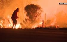 A screengrab of a man rescuing a rabbit from a wildfire in California. Picture: CNN
