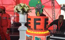 The EFF's 4th birthday cake. Picture: Ziyanda Ngcobo/EWN.