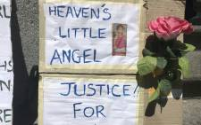FILE: A poster for Lache Stols outside the Cape Town High Court on October 24, 2017. Picture: Monique Mortlock/EWN