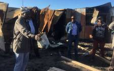 Western Cape Human Settlements MEC Bonginkosi Madikizela visits the Masiya informal settlement on 3 June 2018, after a shack fire killed five children. Picture: Supplied