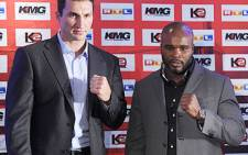 Heavyweight boxers Wladimir Klitschko and Jean-Marc Mormeck at a press conference on 24 October 2011.Picture:AFP