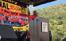 Cosatu President S'dumo Dlamini addressing the crowd at the May Day rally in Mamelodi. Picture: Emily Corke/EWN.