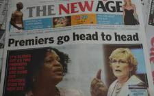The front page of the New Age newspaper on 31 January 2013. Picture: Lesego Ngobeni/EWN