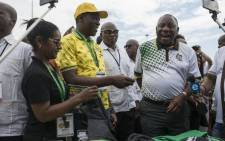 Newly elected ANC President Cyril Ramaphosa is seen on Tuesday 19 December as he embarks on a walk about of stalls selling ANC regalia and well as other business stalls located in the hall of the Progressive Business Forum. Picture: Ihsaan Haffejee/EWN