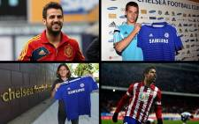 Chelsea's summer signings (Clockwise, L-R, starting top left): Cesc Fabregas, Mario Pasalic, Diego Costa and Felipe Luis. Picture: Official Chelsea FC Facebook Page/EWN