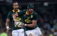South Africa captain Warren Whiteley holds the ball during the International test match between South Africa and France at the Kingspark rugby stadium on 17 June 2017 in Durban. Picture: AFP.