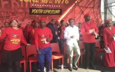 EFF leadership at the packed Boipatong Stadium for the Youth Day rally. Picture: Kgothatso Mogale/EWN.