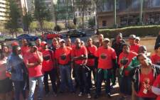 National Health Education & Allied Workers Union members protest outside the Gauteng Provincial Legislature on 1 September 2017. Picture: Twitter/@_cosatu