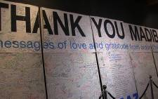 A mural of condolence messages from people across the world following the passing of Nelson Mandela which is on display as part of the 'In Tribute to Neslon Mandela' exhibition in Johannesburg. Picture: Reinart Toerien/EWN