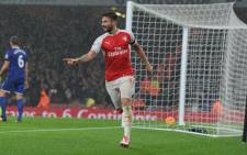 Arsenal's Olivier Giroud and Laurent Koscielny helped their team to beat Everton 2-1 in the English Premier League on 24 October 2015. Picture: Arsenal official Facebook page.