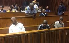 FILE: Admore Ndlovu, Thabo Nkala and Mduduzi Mathibela Lawrence await proceedings in the South Gauteng High Court. Picture: Thando Kubheka/EWN.