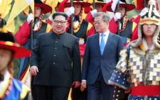 North Korean leader Kim Jong Un and South Korean President Moon Jae-in meet at the border truce village of Panmunjom in South Korea for talks on 27 April 2018. Picture: AFP