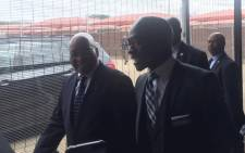 President Jacob Zuma being taken on a walk about by Home Affairs officials including Minister Malusi Gigaba. Picture: Thando Kubheka /EWN