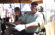 President Cyril Ramaphsa tee'd off at the Atlantic Beach Golf estate for the Presidential Golf Challenge. Picture: Bertram Malgas