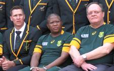 Sports Minister Fikile Mbalula with members of the Springbok team before they left for the 2015 Rugby World Cup. Picture: Vumani Mkhize/EWN