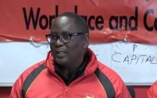 Saftu's Zwelinzima Vavi speaks at a Sapu briefing on the 10111 call centre strike. Picture: Kgothatso Mogale/EWN