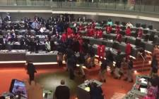 A screengrab of police being called into the chambers during Ekurhuleni Mayor Mzwandile Masina's State of the City address.
