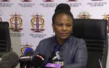 Public Protector Busisiwe Mkhwebane during a press briefing. Picture: Kgothatso Mogale/EWN.