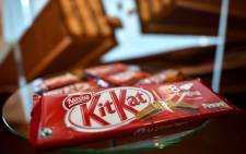 A pack of the chocolate-covered wafer biscuit bar KitKat brand from Swiss food giant Nestle. Picture: AFP.
